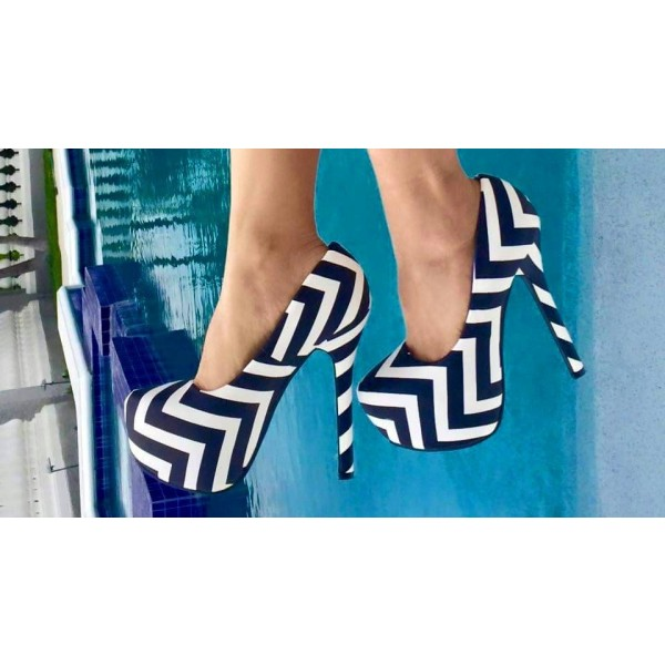Black and White Heels Stripes Platform Pumps High Heel Shoes image 1