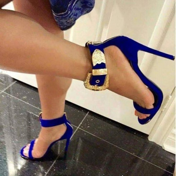Royal Blue Dress Shoes Open Toe Stiletto Heels Golden Ankle Strap Sandals  image 1