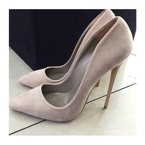 Grey Stiletto Heels Pointy Toe Suede Pumps Stiletto Heels image 1