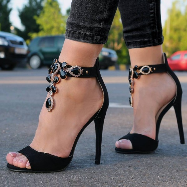 Black Jeweled Sandals Ankle Strap 5 Inches Stiletto Heels Shoes image 1
