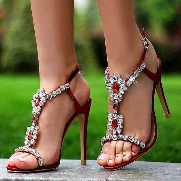 Red Rhinestone Heels Open Toe Stiletto Heel T Strap Sandals image 1