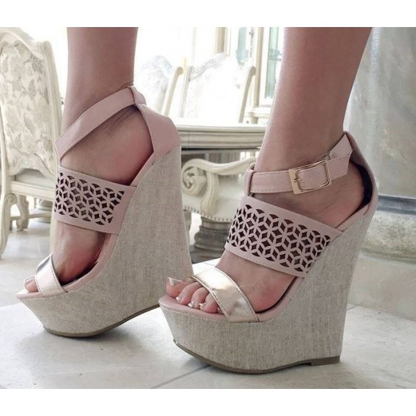 Pink Wedge Sandals Hollow out Ankle Strap Platform Heels image 1