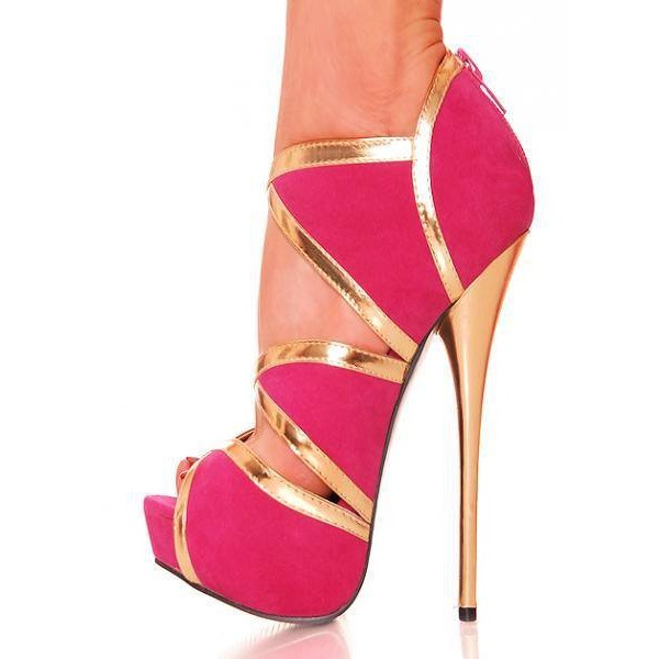 Women's Hot Pink And Gold Stripper Heels Suede Platform Sandals  image 1