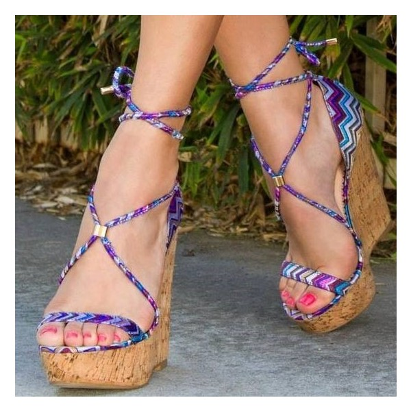 Purple Cork Wedges Open Toe Strappy Platform Sandals image 1