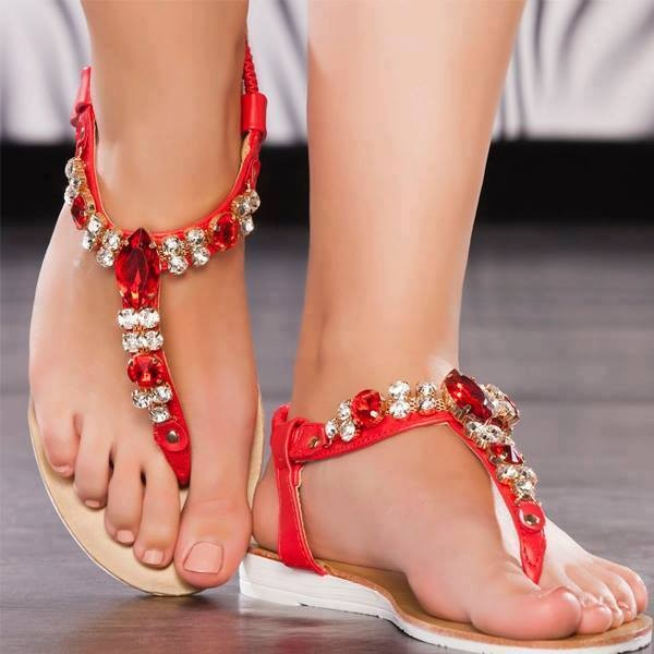 Red Jeweled Sandals Comfortable Beach Flip-flops image 1