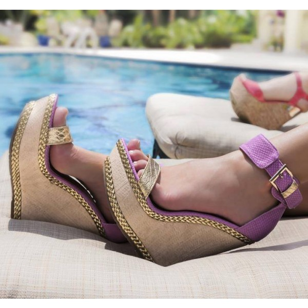 Purple Wedge Sandals Open Toe Ankle Strap Platform Heels image 1