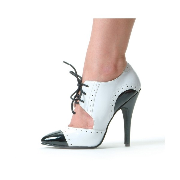 Black and White Oxford Heels Cut out Lace up Vintage Shoes image 2