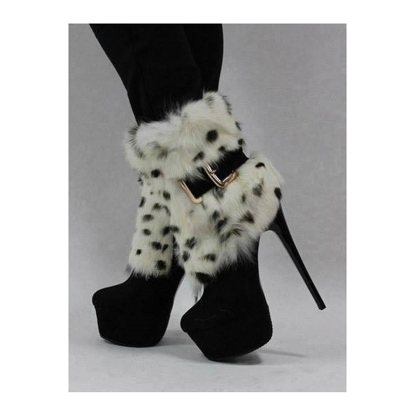 Black Fur Boots Platform High Heel Shoes Mid-calf Boots image 1