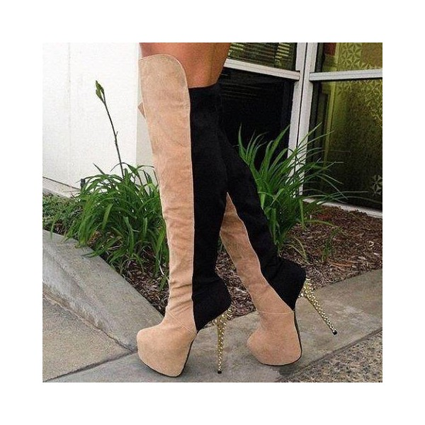 Khaki and Black Wide Calf Boots Spike Heel Platform Boots image 1