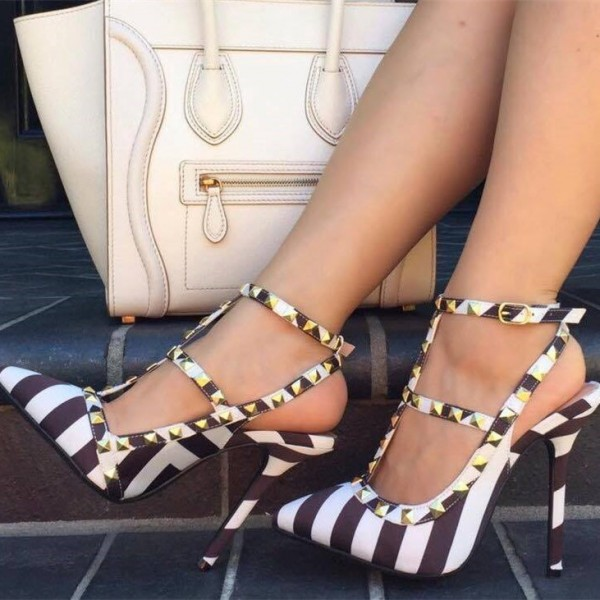 Black and White Stripes T Strap Sandals Slingback Stiletto Heels with Rivets image 1