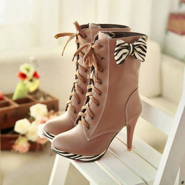 Khaki Lace up Boots Round Toe Platform Mid-calf Boots with Bow image 1