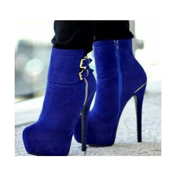 Royal Blue Heels Platform Boots Buckles Stiletto Heels Suede Ankle Booties  image 1