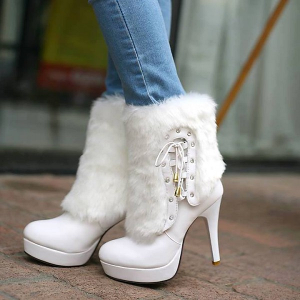 White Fur Boots Round Toe Platform Ankle Boots for Cold Weather image 1