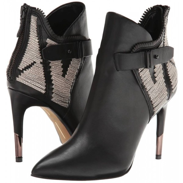 Black Stiletto Boots Pointy Toe Buckle Ankle Booties for Work image 1