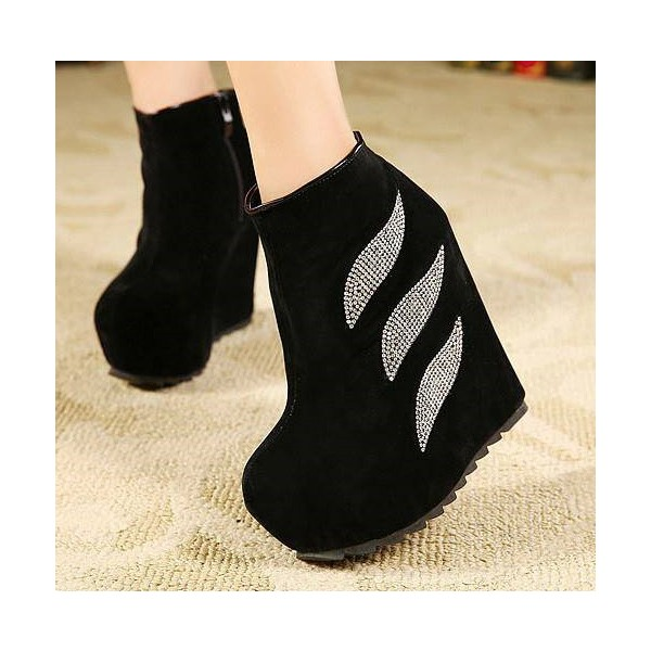 Women's Black Rhinestone Suede Platform Heels Ankle Wedge Booties image 1