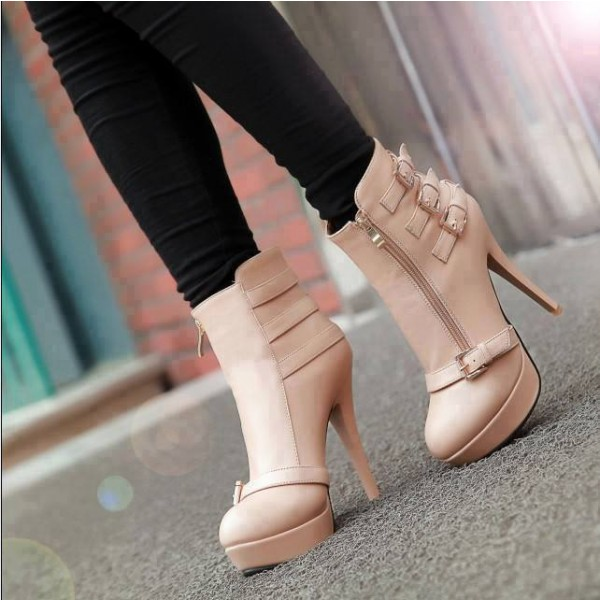 Nude Buckle Boots Stiletto Heel Platform Ankle Boots image 1