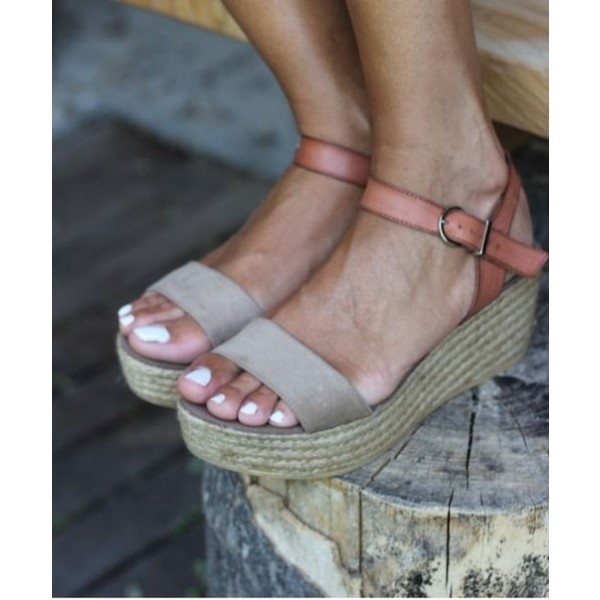 Tan and Grey Vintage Heels Open Toe Sandals Platform Shoes image 1