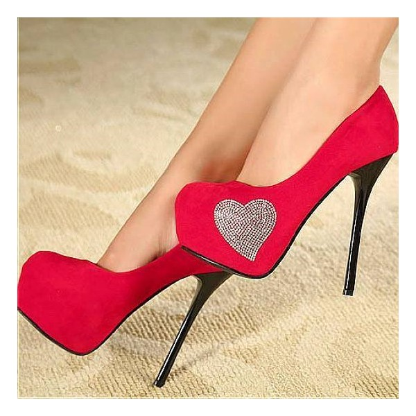 Women's Red Platform Heels Crystal Heart Suede Stiletto Heels Pumps image 1