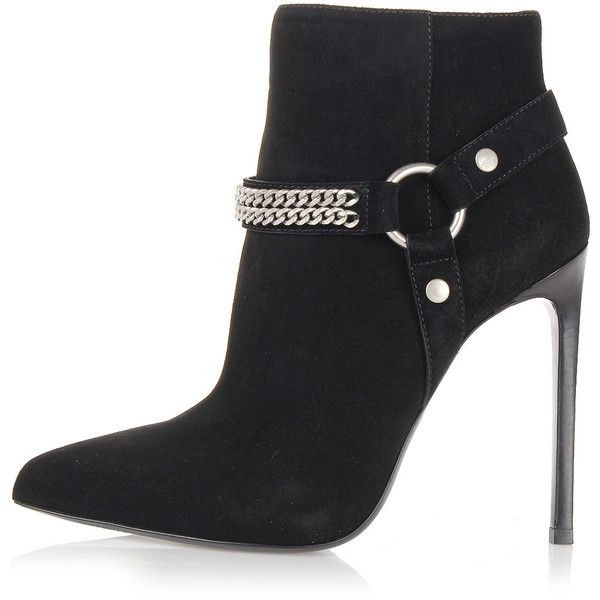 Black 5 Inches Suede Ankle Stiletto Boots with Metal Chain image 2