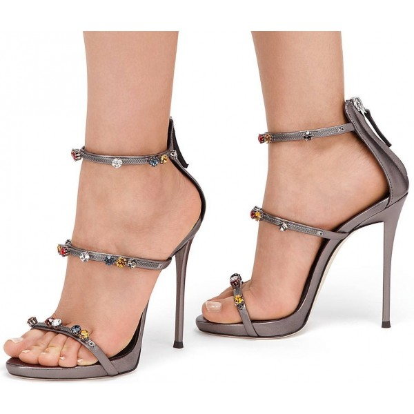 Grey Metallic Rhinestone Heels Stiletto Office Sandals image 1