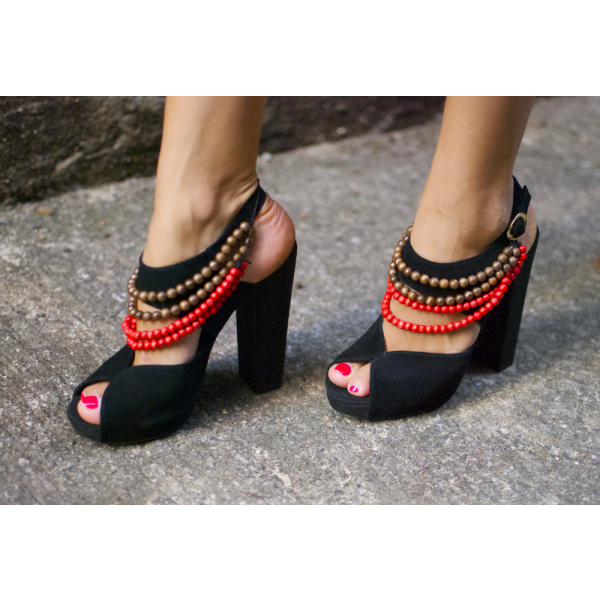 Black Slingback Heels Peep Toe Block Heel Sandals with String of Beads image 2