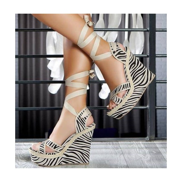 Zebra Wedge Sandals Open Toe Strappy Platform High Heels Wedges image 1