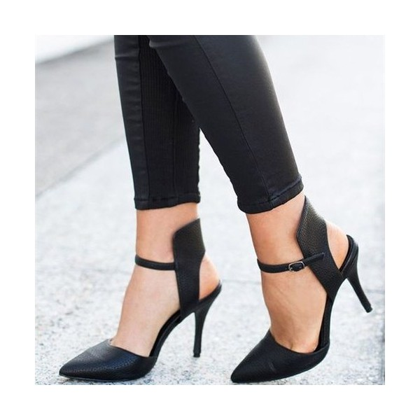 f0c8ec4a9 Black Slingback Pumps Pointy Toe Stiletto Heels for Office Ladies image 1  ...