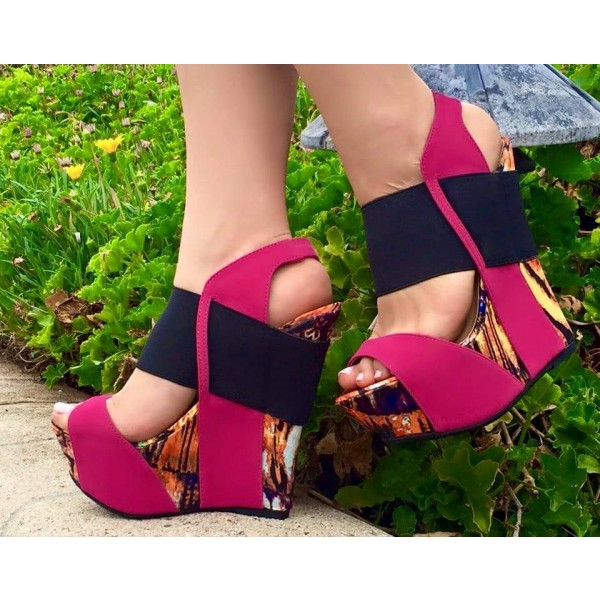 Hot Pink Wedge Sandals Open Toe Suede Platform Heels image 1