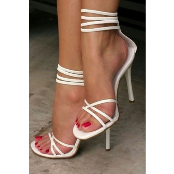 2019 White Strappy Sandals Open Toe Ankle Strap Stiletto Heels Shoes image 1