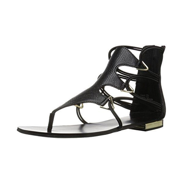 Black Gladiator Sandals Toe-knob Flat Summer Sandals image 1