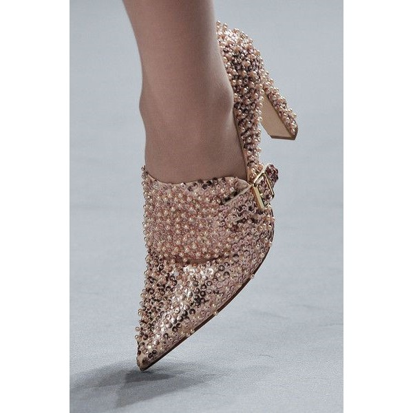 Rose Gold Pointy Toe Sequined and Beaded Heeled Loafers for Women image 1