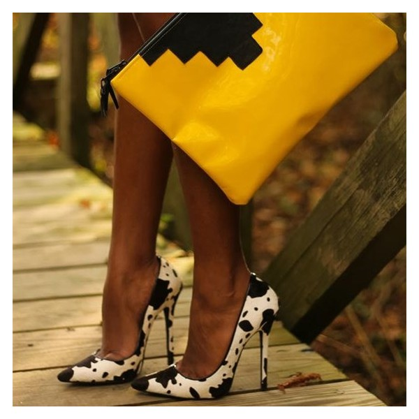 Black And White Heels Cow Print Stiletto Heel Pumps For