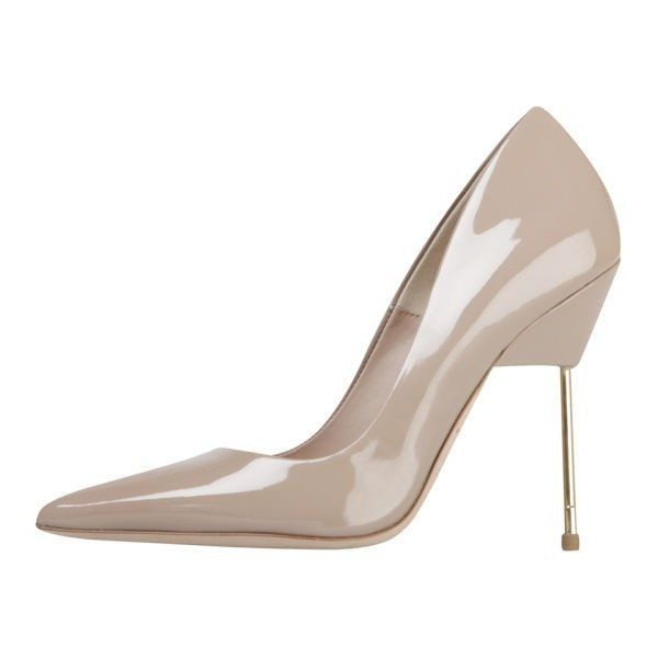 Nude Stiletto Heels Patent Leather Pointy Toe Pumps for Women image 1