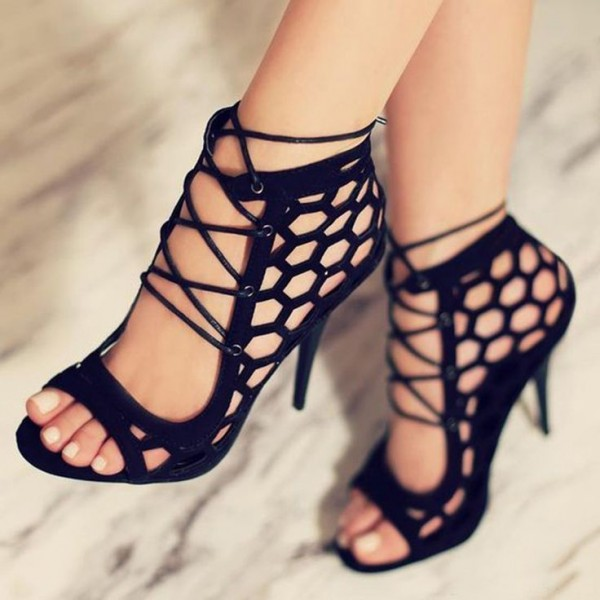 Black Strappy Sandals Hollow out Open Toe Stiletto Heels image 1