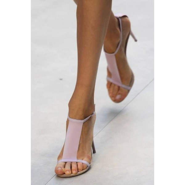 Light Pink T Strap Sandals 5 Inches Stiletto Heels Shoes image 4