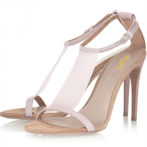 Light Pink T Strap Sandals 5 Inches Stiletto Heels Shoes image 1
