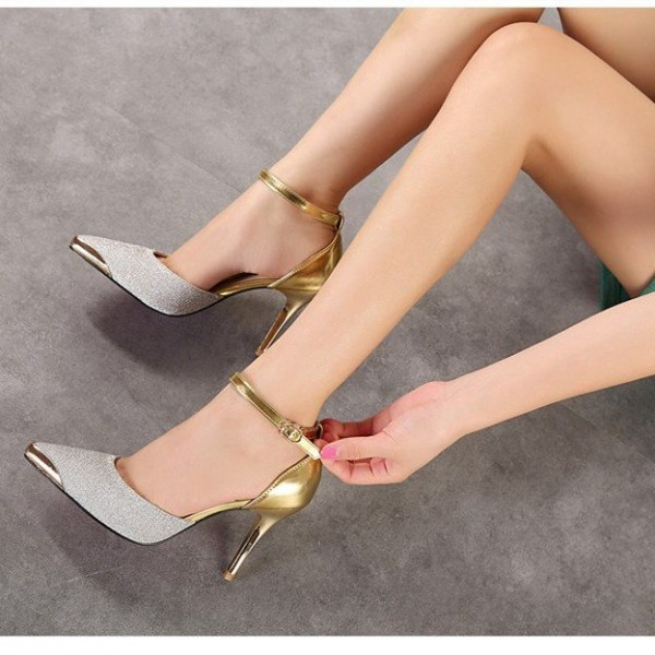 Silver and Gold Glitter Prom Shoes Stiletto Heels Ankle Strap Pumps image 2