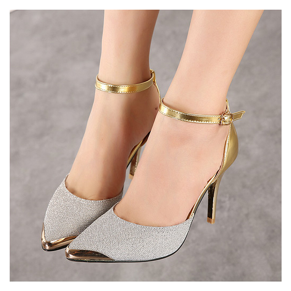 Silver and Gold Glitter Prom Shoes Stiletto Heels Ankle Strap Pumps image 3