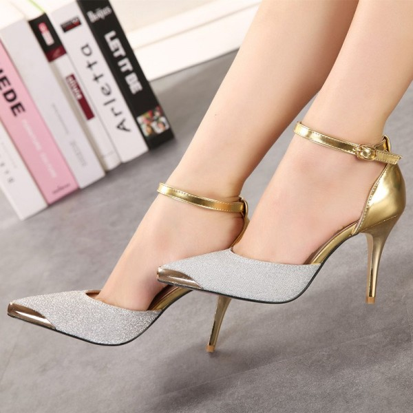 Silver and Gold Glitter Prom Shoes Stiletto Heels Ankle Strap Pumps image 1