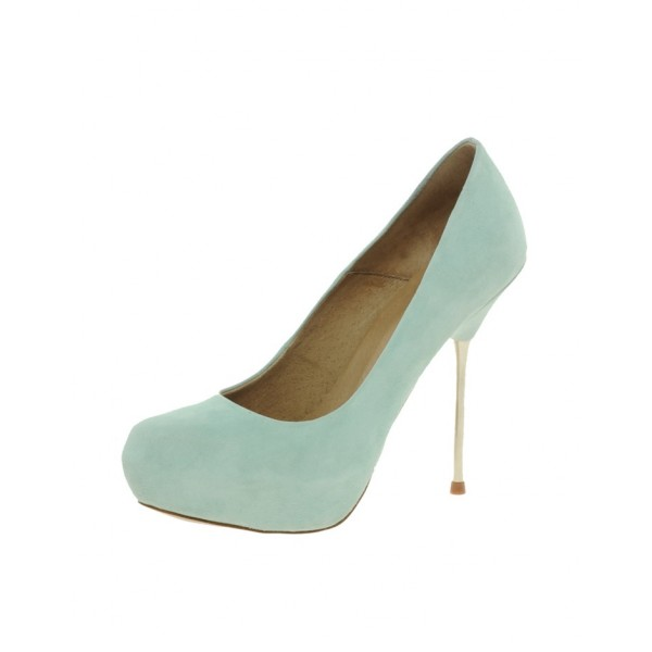 Turquoise Heels Suede Platform Pumps Stiletto Heels Shoes image 1