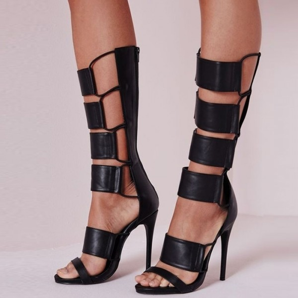 e1f9c8028ec Black Stiletto Heels Strappy Knee High Gladiator Heels Sandals image ...