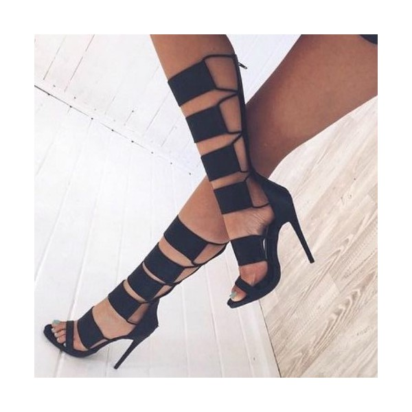 Black Gladiator Sandals Open Toe Mid-calf Stiletto Heels  image 2
