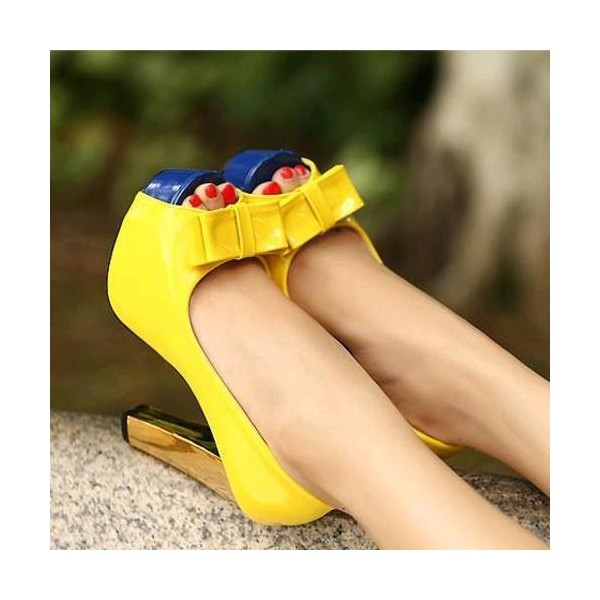 Women's Yellow Peep Toe Heels Bow Block Heel Platform Heels Pumps image 1