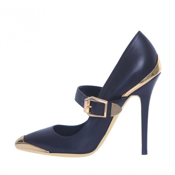 Navy and Gold Heels Metal Stiletto Heels Vintage Mary Jane Pumps  image 2