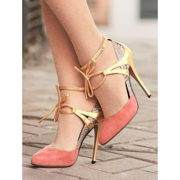 Women's Orange Lace-Up Round Toe Stiletto Ankle Strap Heels Shoes      image 1
