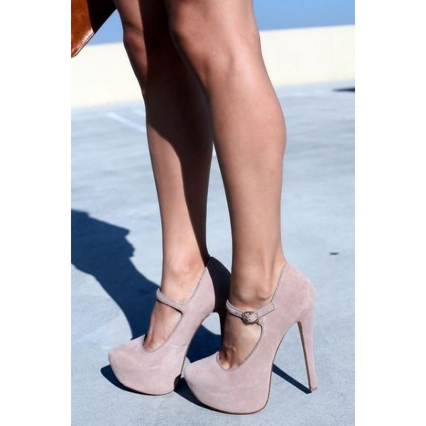 Nude Blush Mary Jane Pumps Platform Heels Closed Toe High Heels Shoes image 2