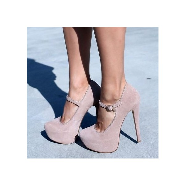 Nude Blush Mary Jane Pumps Platform Heels Closed Toe High Heels Shoes image 1