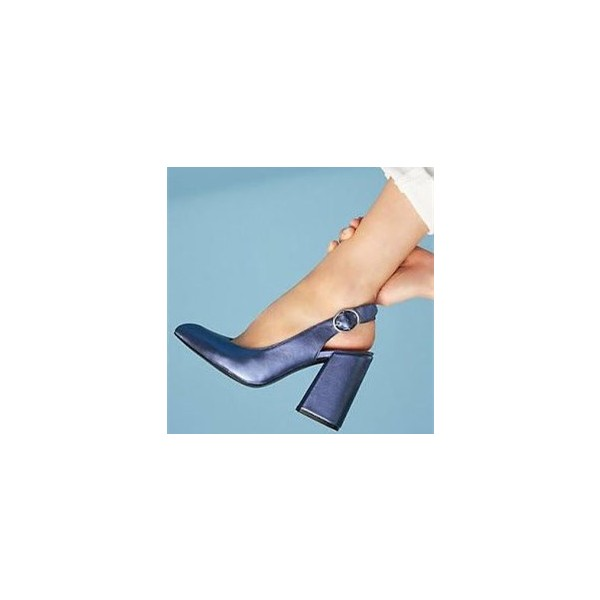 Navy Blue Round Toe Block Heel Buckle Slingback Heels Pumps image 1