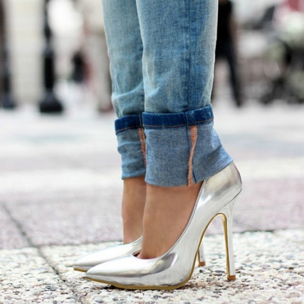 Silver Metallic Heels Pointy Toe Stiletto Heels Pumps for Office Lady image 1