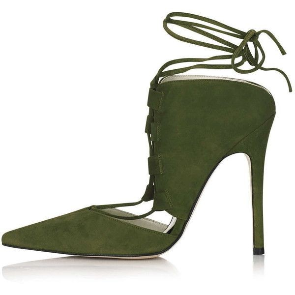 c79cb88eb71 Olive Green Strappy Heels Pointy Toe Stiletto Heel Suede Shoes image 1 ...